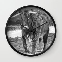 English Longhorn Black And White Wall Clock