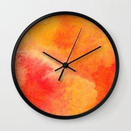 Orange watercolor paint vector background Wall Clock