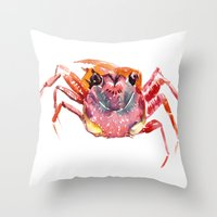 crab Throw Pillows featuring Crab by SurenArt