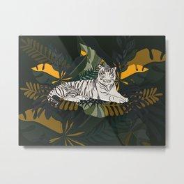 Resting White Tiger In Jungle Metal Print