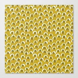 Sunny Melon love abstract brush paint strokes yellow ochre Canvas Print