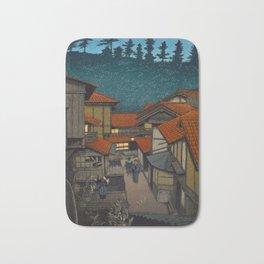 Vintage Japanese Woodblock Print Village At Night Feudal Japan Bath Mat