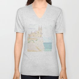 Old medieval castle. Wall art. Unisex V-Neck
