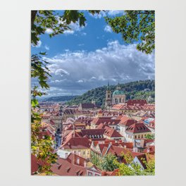 Cityscape view on the lesser town with saint Nicholas church Poster