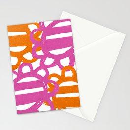 Fun Flowers Large pink orange Stationery Cards