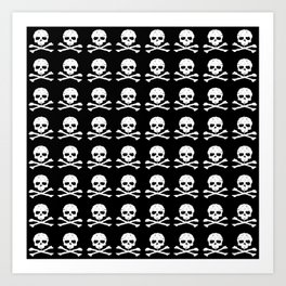 Skull and XBones in Black and White Art Print