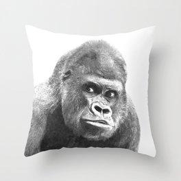 Black and White Gorilla Throw Pillow