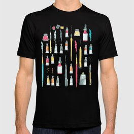 Addicted to Art supplies pattern T-shirt