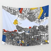 mondrian Wall Tapestries featuring Vanvouver Mondrian by Mondrian Maps