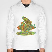trout Hoodies featuring Psychedelic Rainbow Trout by Rebecca Wang