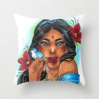 jasmine Throw Pillows featuring Jasmine by Little Lost Forest