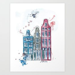 Whimsical Amsterdam Watercolor Art Print