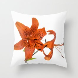Orange Tiger Lily Flowers Throw Pillow