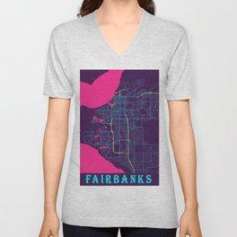 Fairbanks Neon City Map, Fairbanks Minimalist City Map Art Print Unisex V-Neck