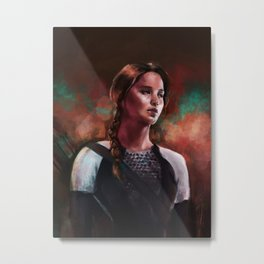 Girl On Fire Metal Print