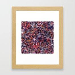 Blue Hawaiian Red Ancient Pattern Framed Art Print