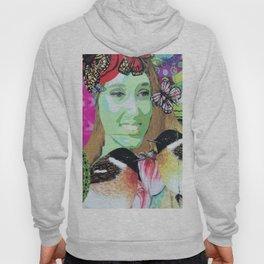 Woman portrait bird butterfly Hoody