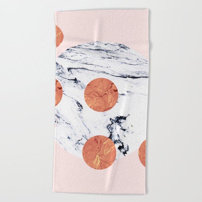 Marble + Pink + Copper #society6 #buyart #decor Beach Towel