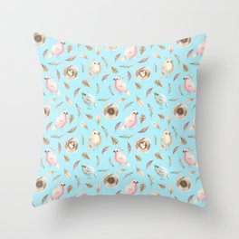 Birds and Feathers in Spring Throw Pillow