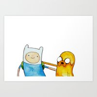 finn and jake Art Prints featuring Finn & Jake by And Other Short Stories