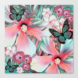 Peachy Mint Hibiscus Tropical Canvas Print