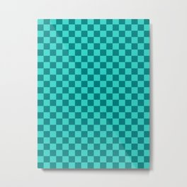 Teal and Turquoise Checkerboard Metal Print