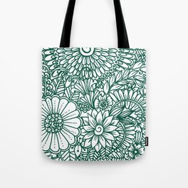 Hand drawn forest green white modern floral Tote Bag