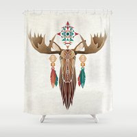 moose Shower Curtains featuring moose by Manoou