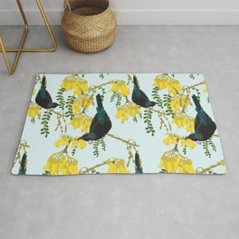 Tuis in the Kowhai Flowers Rug