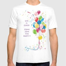 Life is Good Mens Fitted Tee White MEDIUM