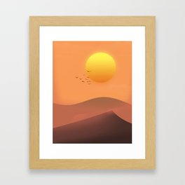 Desert Sunset landscape. Framed Art Print