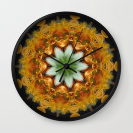 Anemones and daisies in all kinds of colors under the kaleidoscope. Colorful mandala art design. Abstract kaleidoscope background. Beautiful multicolor kaleidoscope texture. Unique kaleidoscope design Wall Clock