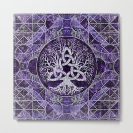 Tree of life with Triquetra Amethyst and silver Metal Print