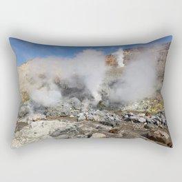 Hot springs, fumarole in crater active Mutnovsky Volcano on Kamchatka Peninsula Rectangular Pillow