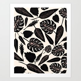 Monstera pattern in black and pastel Art Print