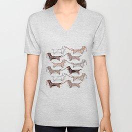 Origami Dachshunds sausage dogs // pale blue background Unisex V-Neck
