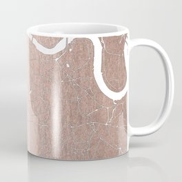 RoseGold on White London Street Map II Coffee Mug