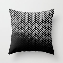 Textured Silver-grey and black Herringbone ombre - Japanese pattern Throw Pillow