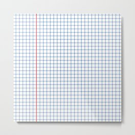 Dotted Grid Red and Blue Metal Print