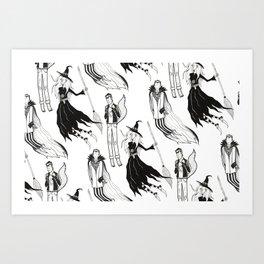 Happy Monsters (in white) Art Print
