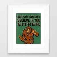 bigfoot Framed Art Prints featuring Bigfoot by Heather Green