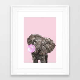 Baby Elephant Blowing Bubble Gum Framed Art Print