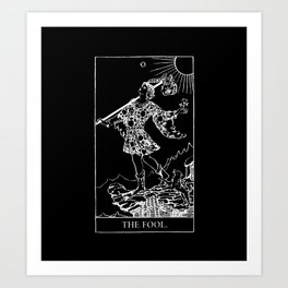 0. The Fool- White Line Tarot Art Print