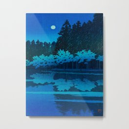 Vintage Japanese Woodblock Print Blue Forest At Night White Moonlight Mystical Trees Metal Print