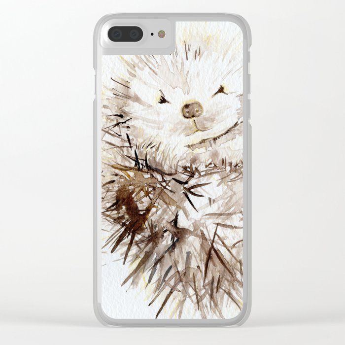Hedgehog Cuddles Clear iPhone Case