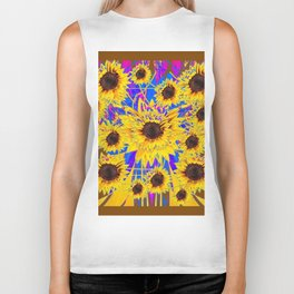 SURREAL FUCHSIA BROWN SUNFLOWERS  MODERN ART Biker Tank