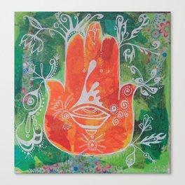 Hamsa Hand in Oranges Canvas Print