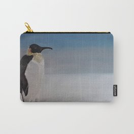 Penguin, oil painting on canvas by Luna Smith, LuArt Gallery, snow, winter bird Carry-All Pouch