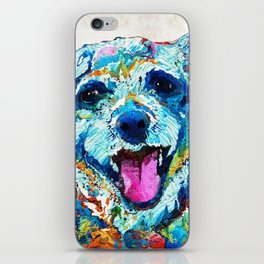 Colorful Dog Art - Smile - By Sharon Cummings iPhone Skin
