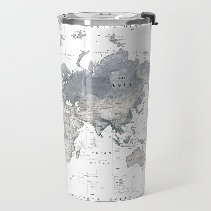 The World [Black and White Relief Map] Travel Mug